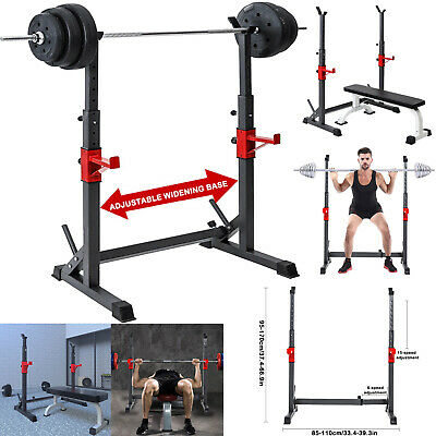 $ CDN104.44 • Buy Barbell Rack 550LBS Fitness Adjustable Squat Stand Dipping Station Weight Bench