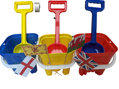 £8.95 • Buy Bucket Sandcastle 15cm And 33cm Spade & 4 Flags & Mini Windmill Blue Red Yellow