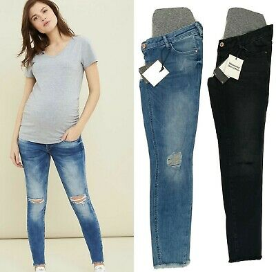 £14.99 • Buy Mothercare Maternity Skinny Jeans  Ankle Crop Blue Black Ripped Knee Over Bump