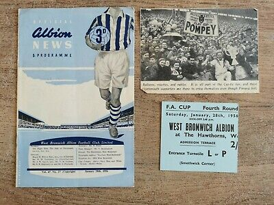 £3 • Buy West Bromwich Albion V Portsmouth FA Cup 4th, 1956. Programme & Ticket