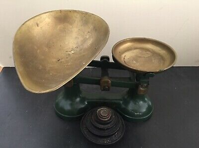 £21.98 • Buy VINTAGE Cast Iron/Enamel KITCHEN/GROCER/ SCALES 8 IMPERIAL WEIGHTS English Made
