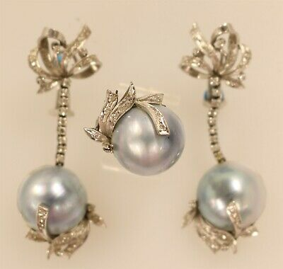 $300 • Buy Silver Ring & Earring Set With Mabe Lavender Pearls/Diamonds, 29.8 Grams