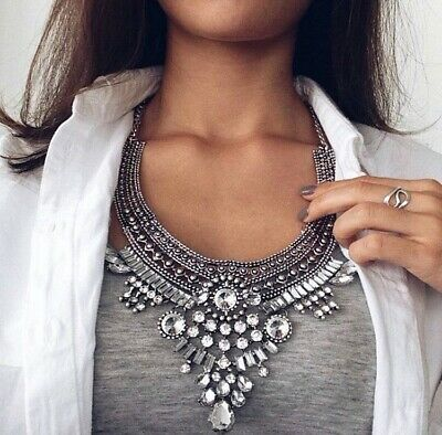 £17.99 • Buy Charming All Crystals Zara Statement Necklace Prom Engagement Wedding