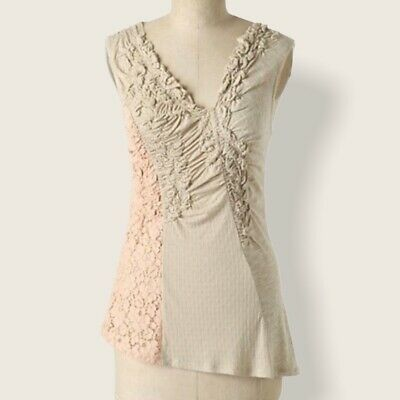 $ CDN13.78 • Buy Anthropologie C. Keer Gusts Of Lace Sleeveless Tank Top V-Neck Women's Size XS