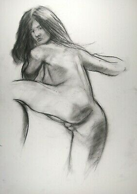 £3.75 • Buy Rear View Nude Female Charcoal Sketch On White Paper A3