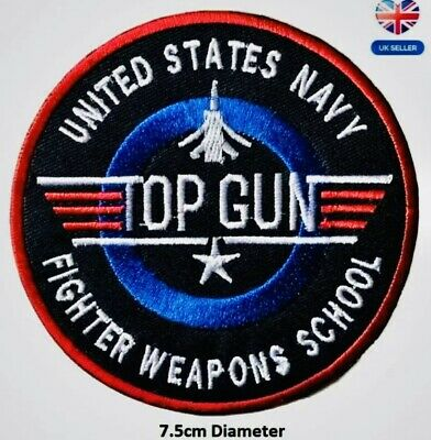 £2.59 • Buy Top Gun Patch Embroidered Iron / Sew On Badge Navy Air Force Fancy Dress Costume