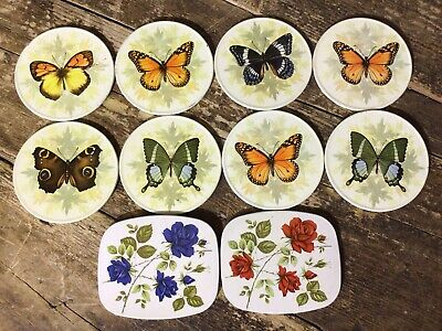 £5 • Buy Vintage Coasters Floral Butterfly Design