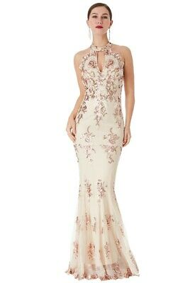 £22.99 • Buy GODDIVA SEQUIN HALTER NECK EMBROIDERED MAXI DRESS  SIZE 8  New With Tags