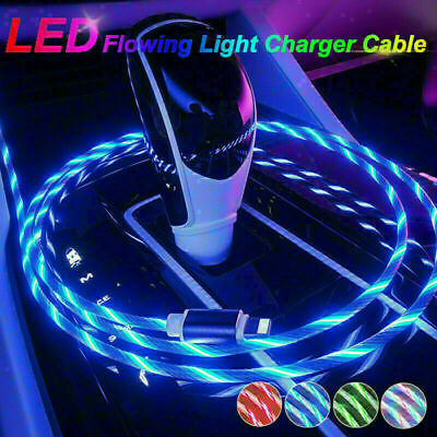 £19.99 • Buy LED Magnetic Light UP Phone Charging Cable Charger For Type-C Micro USB IOS UK