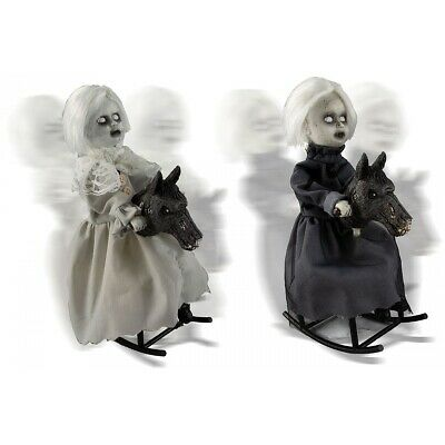 $ CDN36.09 • Buy Gothic Doll Rocking Horse Prop Creepy Animated Scary Halloween Decoration