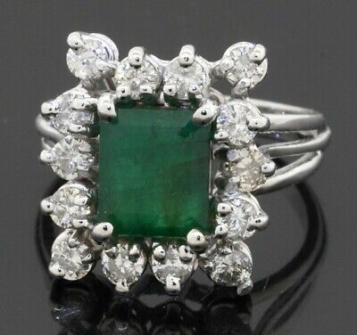 £48.85 • Buy 14K White Gold Beautiful 2.20CTW Diamond & 8 X 6mm Emerald Cocktail Ring Size 3