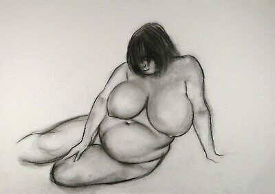 £6 • Buy Nude Big Beautiful Woman BBW With Large Breasts In Charcoal On White Paper A3