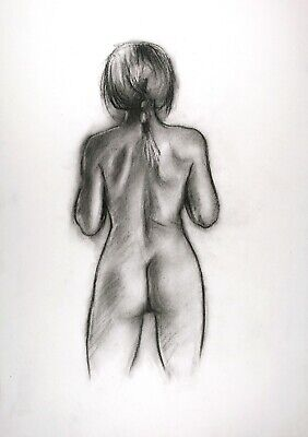 £6 • Buy Rear View Slim Nude Young Woman In Charcoal On White Paper A3