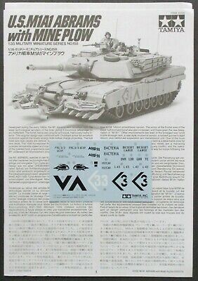 $8.19 • Buy Tamiya 1/35th Scale M1A1 Abrams W/Mine Plow - Decals From Kit No. 35158