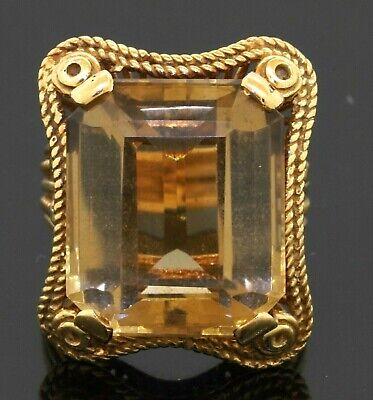 £290.28 • Buy Vintage Heavy 18K Gold 22.0CTW 18 X 15mm Citrine Jumbo Cocktail Ring Size 7