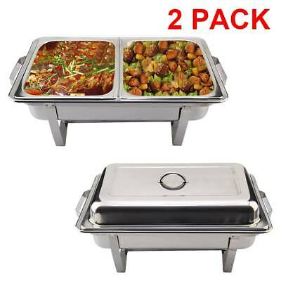 £34.99 • Buy 2Pcs Stainless Steel Buffet Food Warmer Double Food Pans Chafing Dish Fuel Sets