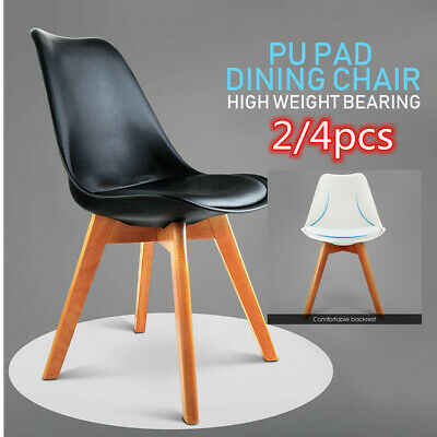 AU53.83 • Buy Modern Fashion Leisure Office Non-slip Solid Wood Legs PU Leather Dining Chair