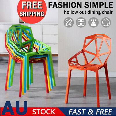 AU116.85 • Buy 4 Dining Chairs Leisure Rest Office Chair Cafe Lounge Seat Multi-purpose Plastic