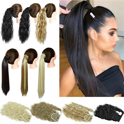 £7.69 • Buy Black Wrap Around Ponytail Hair Extensions Curly Straight Natural Pony Tail UK