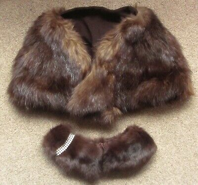 £17.50 • Buy Vintage Fur/Mink Stole & Fur/Mink Collar With Attached Rhinestone Band