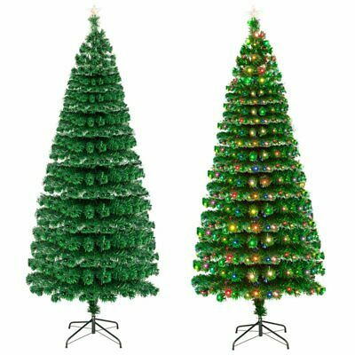 £39.99 • Buy 6FT Artificial Christmas Tree With Metal Stand Bushy Decor Fibre Optic + LED