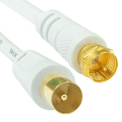 £1.98 • Buy TV AERIAL COAX CABLE To F Connector Plug Male Satellite Lead Sky Virgin 0.5m-20m
