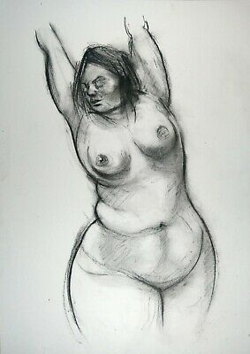 £3.43 • Buy Nude Big Beautiful Woman BBW In Charcoal, Original Drawing On White Paper A3