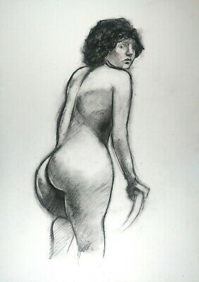 £3.64 • Buy Nude Young Woman Kneeling On A Chair In Charcoal On White Paper A3