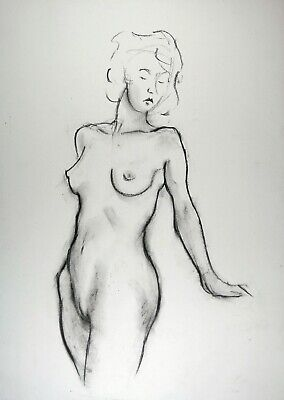 £3.85 • Buy Line Drawing Of Nude Young Woman In Charcoal On White Paper A3