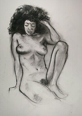 £3.85 • Buy Nude Woman In Charcoal On White Paper A3 Original Drawing