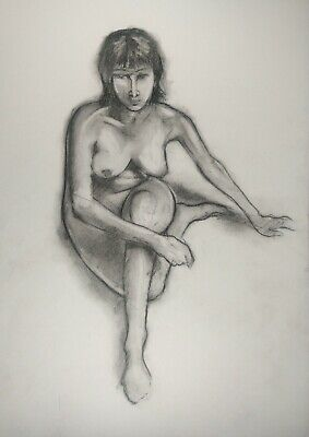 £3.85 • Buy nude Female Sitting On The Floor In Charcoal On White Paper A3