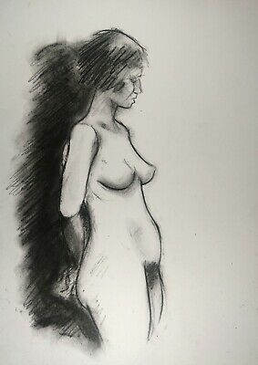 £4.06 • Buy Standing Nude Young Woman Charcoal Sketch On White Paper A3