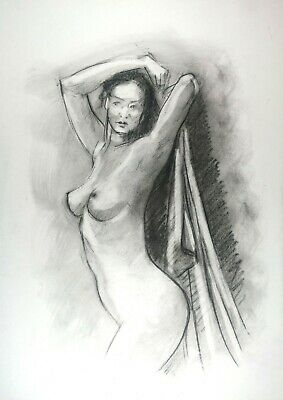 £4.06 • Buy Nude Woman With Hands Raised In Charcoal On White Paper A3