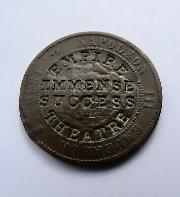 £16.99 • Buy 1856ma France 10 Centimes Coin, Countermarked  Empire Theatre Immense Success