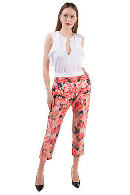 £0.99 • Buy RRP €140 FINDERS KEEPERS Trousers Size M Blurred Rose Print Drop Crotch Cropped