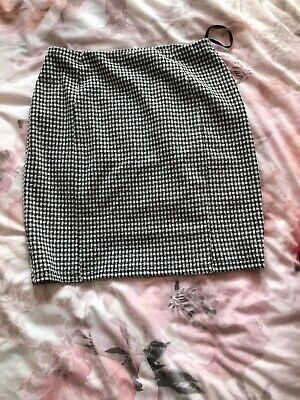 £0.99 • Buy Checkered Bodycon/straight Skirt, Black And White, Size 10, Used