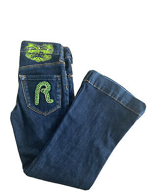 £10 • Buy Girls Replay Green R & Buttefly Detail Kick Flare Jeans Size 28 118cms Age 6