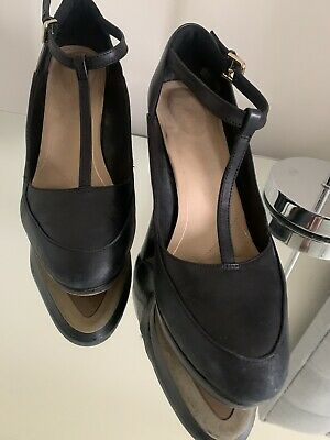 £4 • Buy Clarks Black Leather Kendra Daisy T-Bar Heels Size 6 Great Comfy Work Shoes