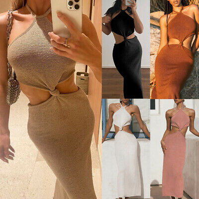 £4.99 • Buy Womens Sleeveless Long Skirts Backless Summer Holiday Beach Cut Out Party Dress