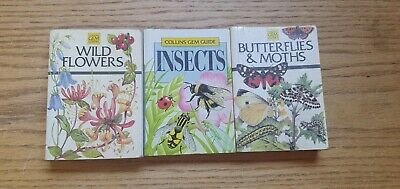 £10 • Buy 3 Collins Gem Guides - Wild Flowers, Insects And Butterflies & Moths