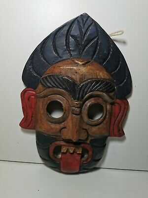 £9.50 • Buy African Wooden Carved Coloured Wall Mask Decorative Africa Collection