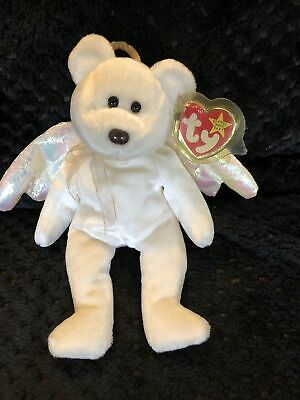 £2 • Buy TY BEANIE BABY - HALO - Brown Nose WHITE BEAR WITH PINK WINGS & RIBBON 1998