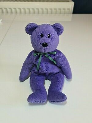 £40 • Buy Ty Rare Beanie Teddy New Face Violet, German,1st Gen 4 Line CE Tush Tag,1993.