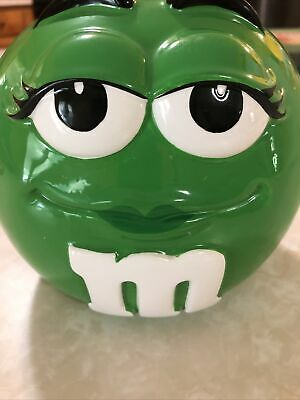$16 • Buy M&M Cookie Candy Jar Canister With Lid Green Mars Inc Ceramic