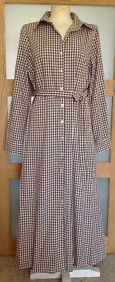 £7.99 • Buy Nobody's Child Brown Gingham Check Belted Long Shirt Dress Size 14 NEW