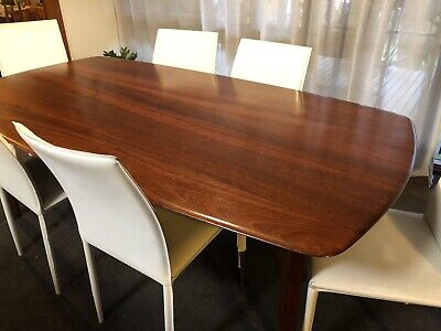 AU97 • Buy Solid Walnut Timber Dining Table - Sits 8 Comfortably 195 X 203cm