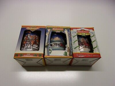 $ CDN43.56 • Buy Set Of 3 Budweiser Holiday Stein 1999 2000 2001 With Box And COA