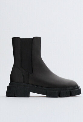 £55 • Buy ZARA Black Leather Chunky Chelsea Ankle Boots - Size UK 7 - RRP £80
