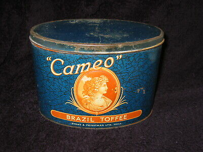 £25 • Buy LARGE OVAL  CAMEO  1930s TOFFEE TIN (HULL MAKERS)