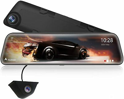 """AU298.97 • Buy 12"""" 2.5K Mirror Dash Cam For Cars, Full HD 1440P Front And 1080P Rear Camera,"""
